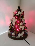 The Danbury Mint Bichon Frise Lighted Christmas Tree Works But No Topper