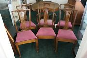 Set Of 6 Antique Oak Claw Foot Formal Dining Chairs
