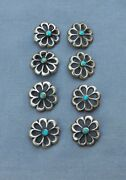 Old Vintage Native American Silver Turquoise Cast Buttons Rare