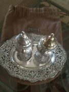 Antique Shreve And Co Salt And Pepper Shakers With Plate Sterling Silver