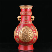 20.2and039and039 Rare China Red Glaze Porcelain Bottle Old Pottery Vase