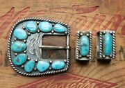 Vtg Tommy Jackson Hand Made Sterling Silver Turquoise Ranger Belt Buckle Andkeeper