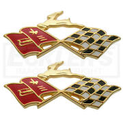 Full Size Chevy Impala Rear Quarter Panel Crossed Flags Emblems, Gold Tone, 1960