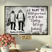 Personalized Fishing Sketch Hold Your Hand Customized Poster/ Canvas