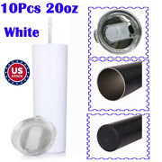 10p 20oz Blank White Insulated Tumblers Water Bottle Vacuum Cup With Sealed Lid