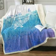 Watercolor Blue Whale Ocean Sherpa Plush Throw Blanket Fleece Bed Sofa Couch
