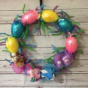 18 Easter Spring Wreath With Glitter Pastel Eggs Plush Rabbits Mesh Pink Blue