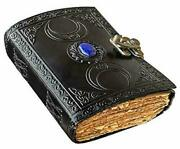 Vintage Leather Journal Grimoire Celtic Witch Stone Leather Book Of Shadows New