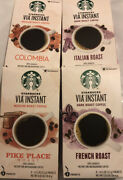 Starbucks Via Instant Coffee 32 Packets French/italian Roast Pike Place Colomb