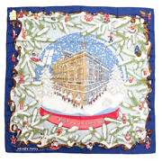 Hermes Kare 90 Noel Au 24 Faubourg Christmas At Fable Silk 100 Blue Scarf _83524