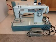 Vintage Brother Charger 651 Blue Sewing Machine Works Great Strong Quiet Motor