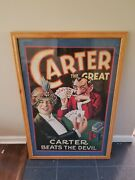 Vintage Carter The Great Beats The Devil Framed Litho Sign Advertising Graphic