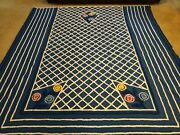 Vintage Pepperell Fabric In Candlewick Blue White Floral Chenille Blanket