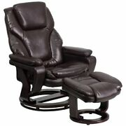 Contemporary Multi-position Recliner And Ottoman With Swivel Mahogany Wood Base