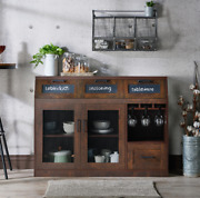 Multi Storage Dining Buffet Dining Room Sideboard Vintage Walnut Free Shipping