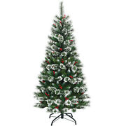 6 Ft Snow Flocked Artificial Christmas Hinged Tree W/ Pine Needles And Red Berries