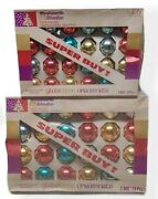 1960's Vintage Christmas Glass Tree Ornaments Woolworth Lot Of 48 Original Boxes