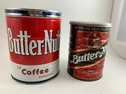 Lot Of 2 Vintage Empty Butter-nut Coffee Cans 2 Lb. Can And 13 Oz. Can