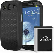 3in1 7570mah Extended Extra Battery Black Cover For Samsung Galaxy S3 I535 I9300