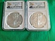2014 Silver Eagle Ngc Ms 70 - First Release - 2 Coins