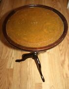 Vintage Ethan Allen Made England Wood Footed End Table Leather Top Gold Design