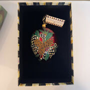 Mackenzie Childs Holiday Pinecone Christmas Ornament Glass In Box Discontinued