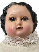 Antique Ca. 1860 Open Mouth Baring Teeth Wax Over Slit Head Primitive Doll Rare