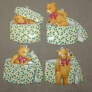 Christmas Department 56 Ornament Metal Bear In Gift Box Lot Of 4 Usa Seller