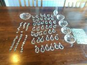 Large Lot Vintage Glass Crystal Chandelier Prisms Clear Tear Drop And Round String