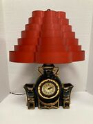 Vintage Lanshire Black Ceramic Gold Plated Lamp Clock With Venetian Shade 1950s