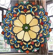 18 X 18 Victorian Blossom Style Stained Glass Window Panel