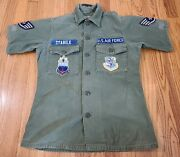 Vtg Us Army Vietnam Og 107 Cotton Sateen Fatigue Shirt 1960s Small W/ Patches
