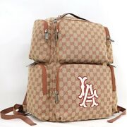 Secondhand Backpack La Angels Patch Large Gg Canvas Beige 552872