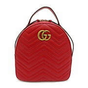 / Gg Marmont 476671 Backpack Day Pack Razor Red Women And039s Secondhand