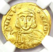 Leo Iii And Constantine V Av Solidus Gold Coin 720-740 Ad. Ngc Ms Unc