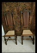 Antique Victorian Oak Carolean Caned Highback Hall Chairs 1880-1900