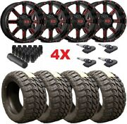 22x10 Gloss Black Candy Red Wheels Rims 35 12.50 22 Tires Package Mt Mud Xd Fuel