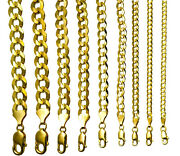 10k Yellow Gold Solid 3mm-12mm Cuban Link Chain Necklace Bracelet 7-30