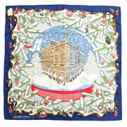 Hermes Carres 90 Noel Au 24 Faubourg Christmas At Fable Silk 100 Blue Scar _3294