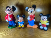 Lot Of 4 Vintage Mickey Mouse Coin Banks Rubber Play Pal Plastic Japan