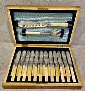 Antique Engraved Sterling Silver Fish Set With Bone Handles Sheffield Hm 1900