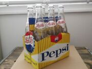 Vintage 6 Pack Of Pepsi Cola Acl Soda Bottles With Cardboard Carrier 10 Oz.