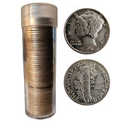 [lot Of 50] Unsearched Mercury Dimes Includes Tube 90 Silver