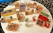 Vintage Tomy Smaller Homes Dollhouse Miniature Furniture Lot 1960's Mcm