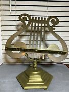 Solid Metal Brass Lyre Harp Sheet Music Footed Stand Vintage