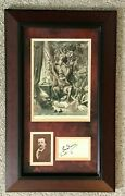 1870s Signed Gustave Dore Calling Card With Vintage Cabinet Photo Framed