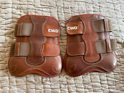 New Cwd Front Velcro Tendon Horse Boots Brown Size 3