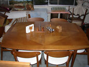 1963 Glenn Of California Mid Century Modern Expansion Dining Table With 6 Chairs