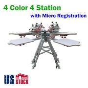 Us Stock 4 Color 4 Station Screen Printing Press Machine For T-shirt Print