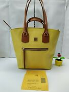 Dooney And Bourke Raleigh Tara Shopper Yellow Leather Tote Shoulder Bag - 348